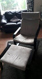 Ikea Poang Arm Chair And Footstool