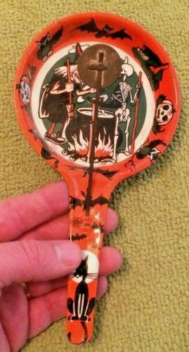 Antique US Metal Co Halloween Noise Maker Double Clanger Ghosts Jack O Lanterns