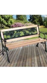 Childrens Kids Wooden Bench Park Outdoor Garden Patio Furniture Cast Legs