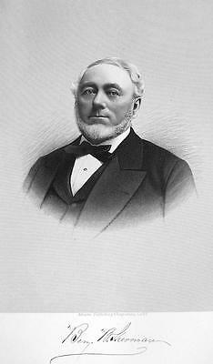 Benjamin Sherman New York Merchant Bank Director   Superb Portrait 1877 Print
