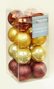 32 Brown Gold Copper Shatterproof Christmas Tree Baubles