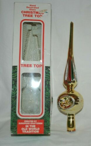 """Vtg Glass Christmas Tree Topper Triple Indent Hand Decorated Romania 10""""!!!"""