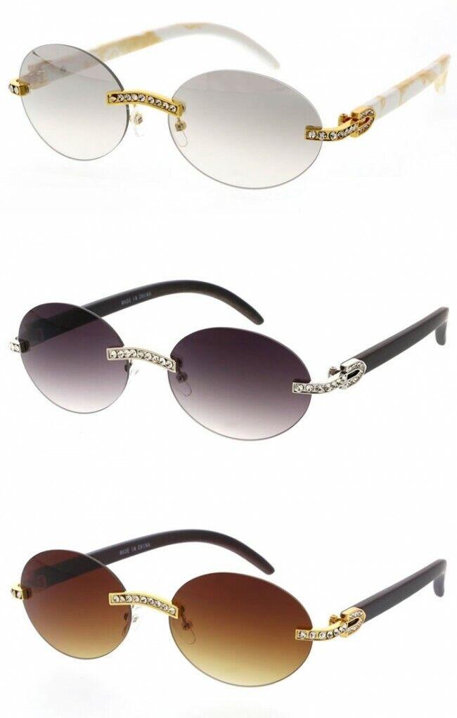 Men's Sunglasses Hip Hop Quavo Migos DIAMOND Rimless OVAL Fr