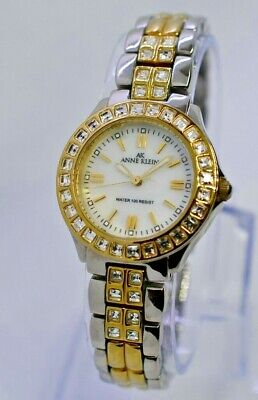 Anne Klein Women's Watch, Two-Tone Silver/Gold Crystals Band & Bezel 10/9143S