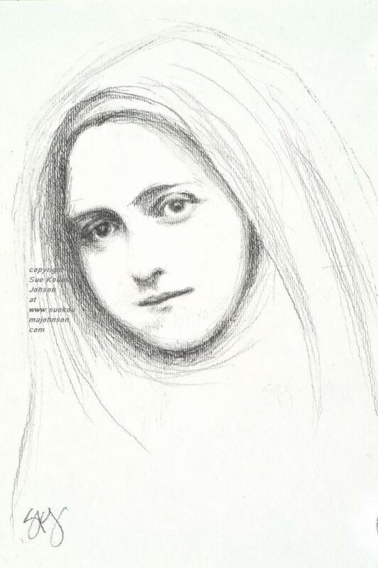 "ST THERESE of LISIEUX (Saint Theresa)—pencil—8.5x11""—Catholic Art—Archival Print"