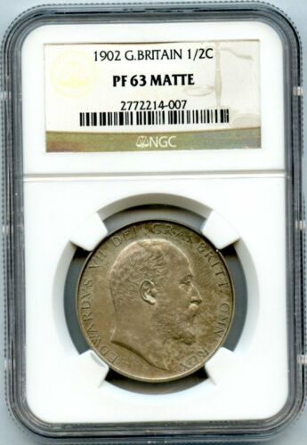 1902 Great Britain 1/2 Crown NGC Proof 63 Matte