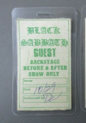 Black Sabbath backstage pass Laminated VERY OLD AND RARE AUTHENTIC !