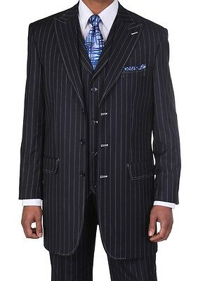 Men's Gangster Pin-Striped Three Button Suit w/ Vest 5903 Navy - Gangster Vest
