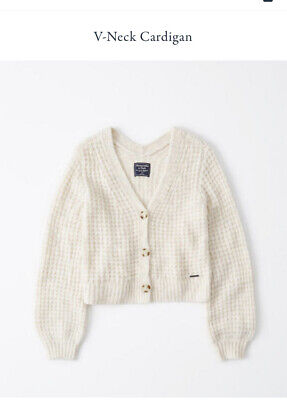 NWT $74 Abercrombie Fitch Cream Puffed Sleeve Waffle Cardigan Sweater Med M Top