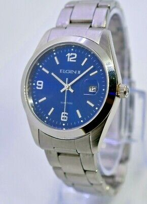 Elgin II Men's Dress/Casual Watch, Blue Face, Quartz, Stainless Steel, (Round Blue 031)