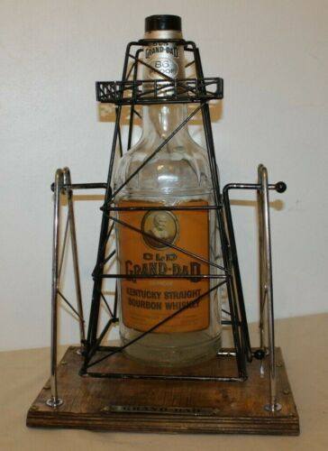 Vintage Old Grand-Dad Empty Gallon Whiskey Bottle & Texas Oil Derrick Pour Stand