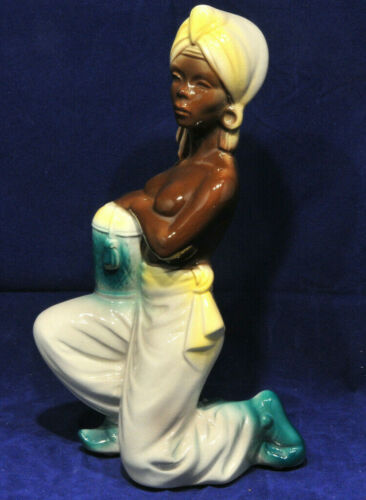 Royal Copley Copely Blackamoor Lady Woman Windsor Spaulding Pottery Basket 1950