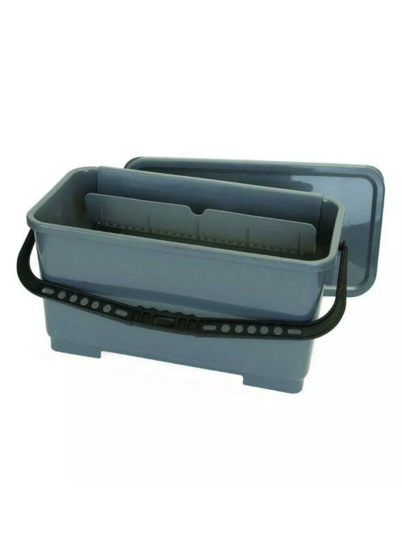 Carlisle Microfiber Pad and Squeegee Bucket 18 in Rectangular Gray 2 Pack w/ On