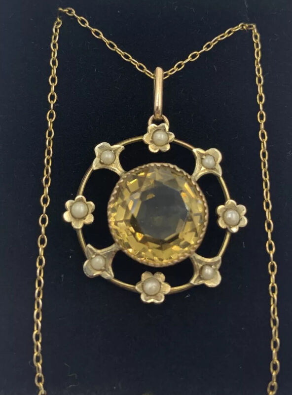 Antique Citrine & Seed Pearl 9ct Gold Pendant