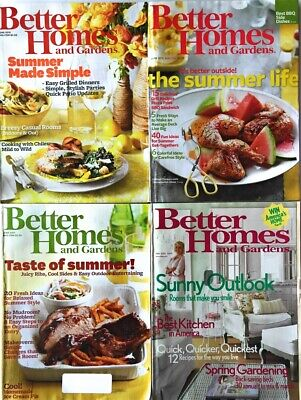 4 Better Homes Gardens Magazines Summer Outside BBQ Food Recipes Decorating Beds