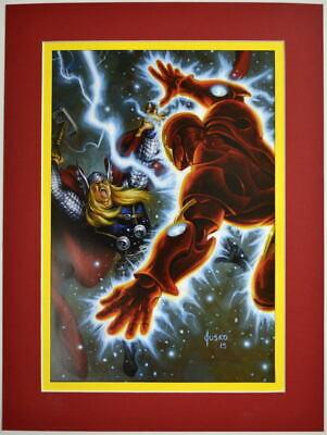 IRON MAN vs MIGHTY THOR Professionally Matted PRINT Joe Jusko art Avengers ()
