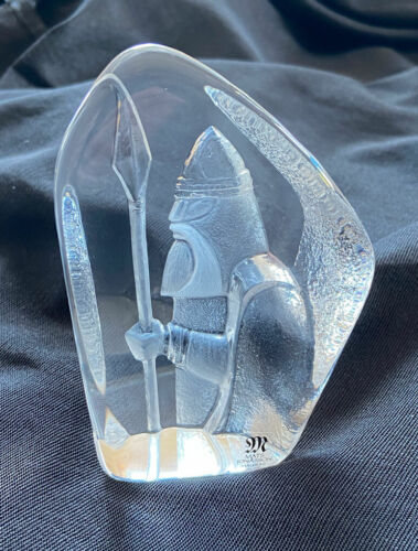 SIGNED Mats Jonasson Full Lead Crystal Viking Sculpture Figurine Paperweight