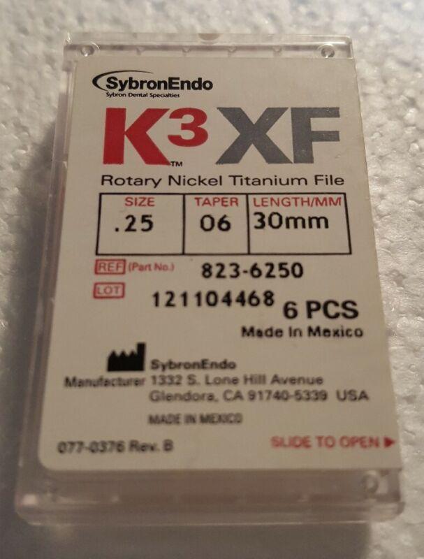 K3XF Rotary Nickel Titanium Files Size .25 Taper 06 Length 30mm