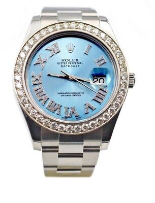 Rolex Mens Datejust II Watch, In Steel With Ice Blue Roman Diamond Face Bezel