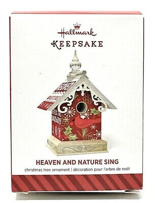 RARE 2014 NEW HALLMARK HEAVEN AND NATURE SING CUTE BIRDHOUSE CHRISTMAS ORNAMENT