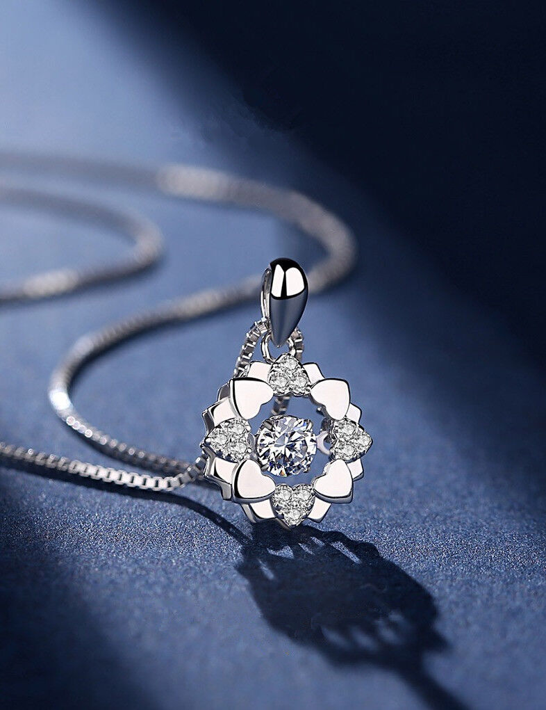 Jewellery - Heart Overlay Pendant 925 Sterling Silver Chain Necklace Womens Ladies Jewellery