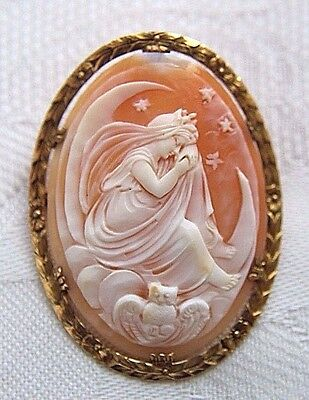VINTAGE CARVED SHELL CAMEO BROOCH PIN PENDANT NYX ASLEEP ON MOON OWL STARS