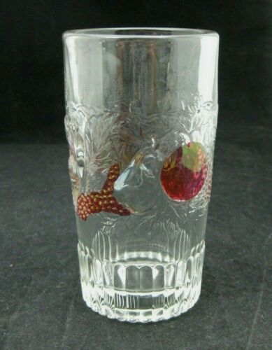 """Westmoreland Glass Embossed Fruit Della Robbia Flat Iced Tea Glass 5 1/8"""""""