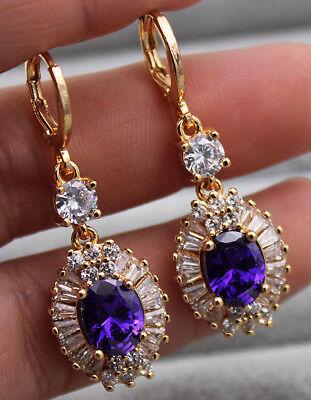 - 18K Yellow Gold Filled - 1.6'' Oval Flower Amethyst Topaz Women Dangle Earrings