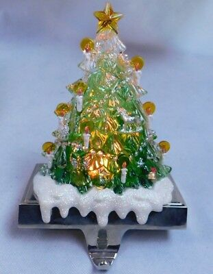 Holiday Light Up Acrylic Christmas Stocking Holder Tree JCPenneys AAA Batteries - Jcpenney Christmas Stockings