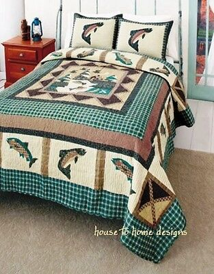 FISHERMANS WHARF 3pc Full Queen QUILT SET : RIVER FISHING GREEN PLAID CABIN - Green Queen Quilt Set