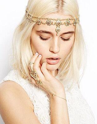 Bohemian Gold Pearl Hair Head Chain Boho Headpiece Headband Hippie Festival