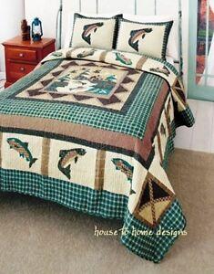 Fishing king quilt set log cabin fisherman lodge fish for Fishing bedding sets