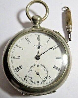 ANTIQUE 1889 BROADWAY WALTHAM 18'S POCKET WATCH 11'J FULL PLATE KEY SET & WIND