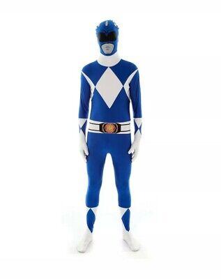 Power Ranger Costume Morphsuit Great for Fancy Dress - Blue Power Ranger Morphsuit
