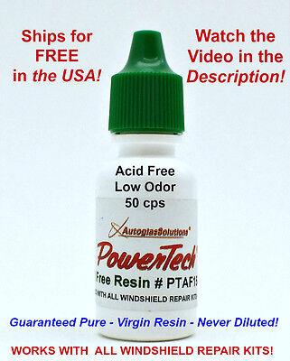 PowerTech Acid Free Auto Glass Windshield Chip Crack UV Repair Resin .5 oz 15 ml