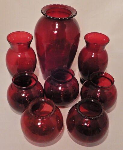 Vintage Anchor Hocking Royal Ruby Red Depression Glass Vases