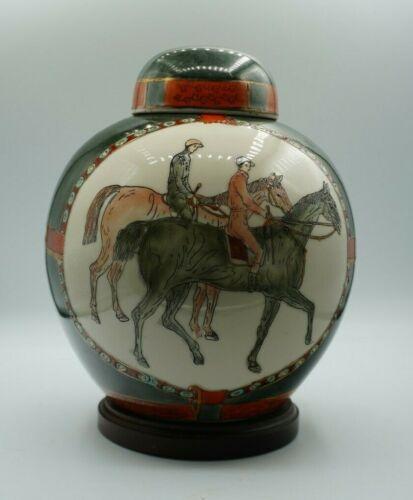 VTG Equestrian Porcelain Hand Painted Chinese Ginger Jar