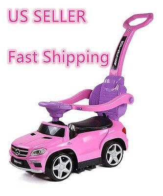 Pink Ride On Toy Push Car Stroller Mercedes Kids Child Toddler LED Lights Handle - Toddler Pink Car