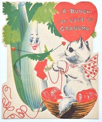 Anthropomorphic Celery Vegetable Greeting Card Valentines Heart Kitty Grandma  Grandmas Heart Card