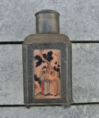 Antique Chinese Pewter 4 Sided Squre Painted Glass Panel Tea Caddy with Cap