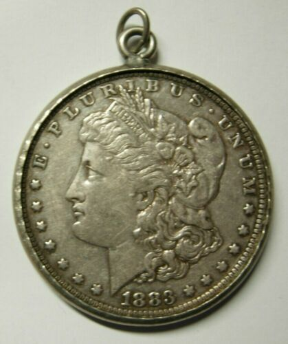 1883o Morgan Silver Dollar In Vintage Silver Bezel W/ Jump Ring