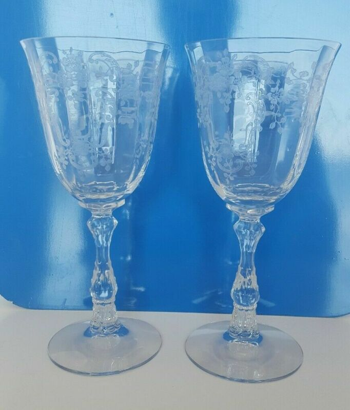 """Fostoria MEADOW ROSE Water Goblets Glasses 7 5/8"""" tall Set of 2"""