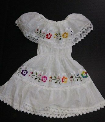 Mexican Girls Dress Lace White Gypsy Embroidered Peasant Bohemian Toddler 6M-4T ](Girls Bohemian Dress)