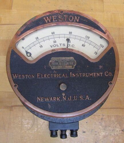 Antique WESTON ELECTRICAL INSTRUMENT Co Large VOLTS Gauge p1901 NEWARK NJ USA