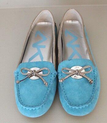 Anne Klein Womens Loafer Shoes Sz 6 M Aqua Suede Sport Flat Driving Moc Bow