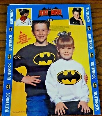 Butterick Batman Child's Sweatshirt Pattern 985 Size 2 to 6x Iron On Transfers (Iron Batman Suit)