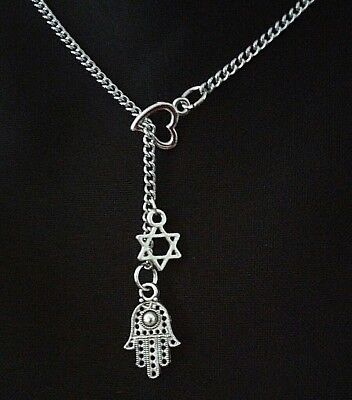 Silver Love Heart Hexagon star of David hamsa hand protection Lariat -