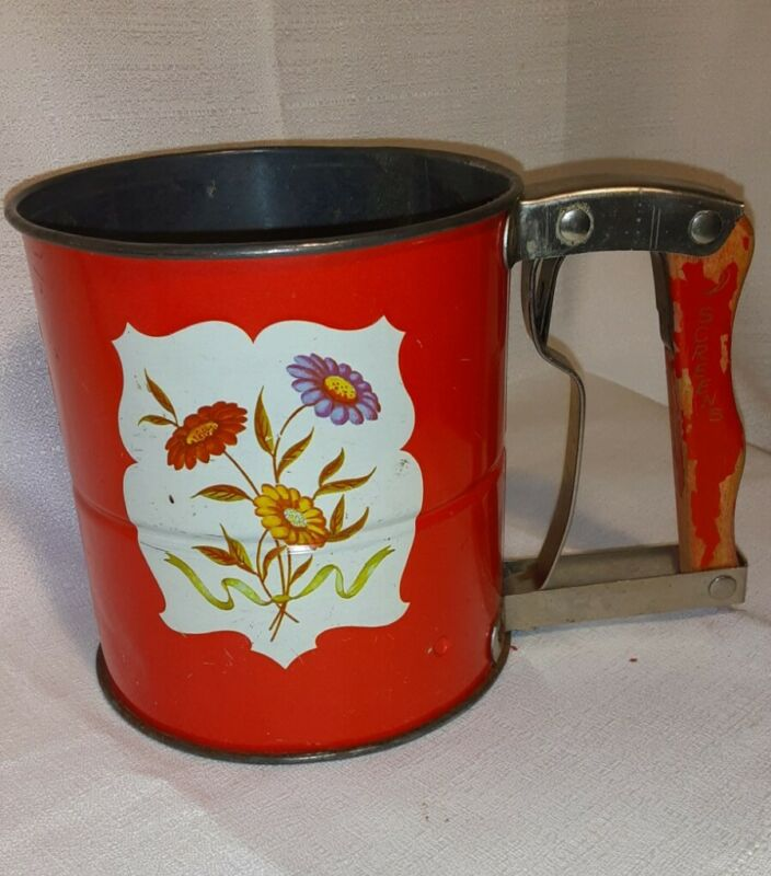 Vintage Androck Hand-i-Sift Tin Flour Sifter Red with Flowers Kitchen Sifter