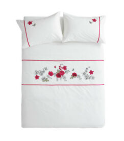 New Double Bed Set, White with Red Roses, Embroidered detail. Was 37, Sell £15 to Clear.,