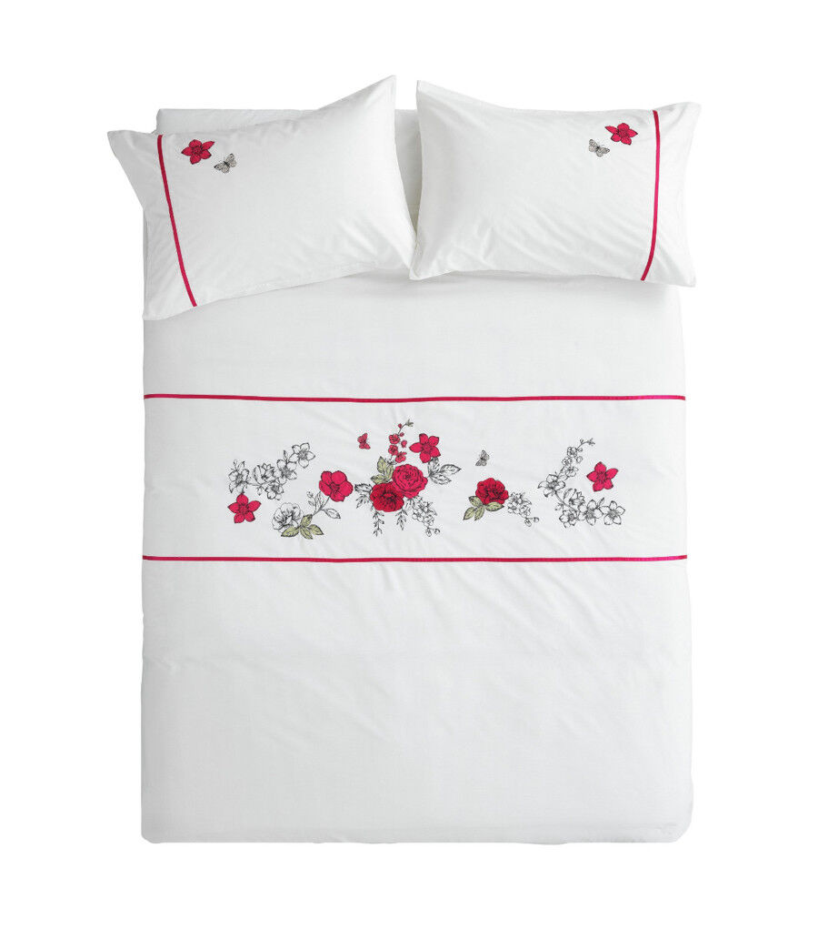 New Double Bed Set, White with Red Roses,